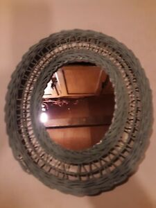 "Vintage? Teal Wicker Framed Mirror 13"" x 15""- Hanging - Neat"