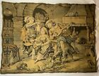 Vintage French Machine Made Tapestry With Chickens c1980s