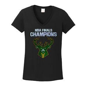 Women's  Milwaukee Bucks t shirt NBA champions ladies championship bling v-neck