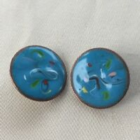 Vintage Retro 1970s Blue Abstract Enamel Copper Clip On Earrings Prom Party