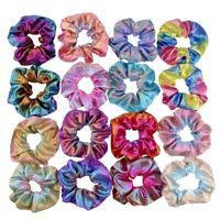 Bronzing Colorful Rainbow Fabric Elastic Scrunchie Glitter Hair Ring Accessories