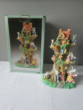 """Large Multi-Tiered Tree House With Rabbits Signed JAIMY w/Original Box 11"""""""