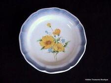 Mikasa Country Club Amy Salad Plate Yellow Wildflowers Blue Edge