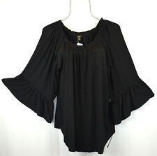 Cupio Womens 1X Midnight Black Ruffle Bell Sleeve Peasant Boho Top Blouse Shirt