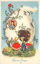 B95034 children in egg house   buona pasqua easter   italy