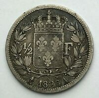 Dated : 1826 - Silver Coin - France - Half Franc - 1/2 Franc Coin - Charles X