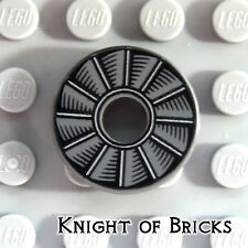 Lego MINIFIGURE 2x2 Round DARK GRAY Tile with Hole with Rotor Blade