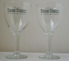 Avec les BONS VOEUX Belgian BEER CHALICE GLASSES/PAIR