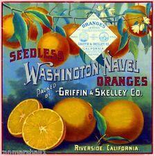 Riverside Seedless Washington Navel Orange Citrus Fruit Crate Label Art Print