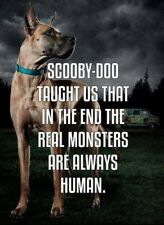 "2"" The Real Monsters Are Human Great Dane Scooby Animals Anonymous Sticker"