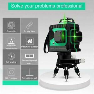 360° Rotary 3D Laser Level Green 12 Lines Self Leveling Cross Measure Tool Kit