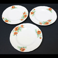 """Set of 3 Vintage W.S. George Argosy Ivory 6.25"""" Round Plates, Hand Paint Floral"""