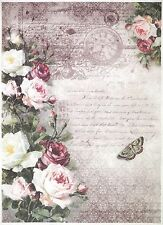 Rice Paper -Vintage Roses Stamp- for Decoupage Decopatch Scrapbook Craft