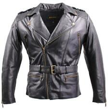 Lederjacke Herren Motorradjacke Biker Rindnappaleder Leather Jacket 3XL schwarz
