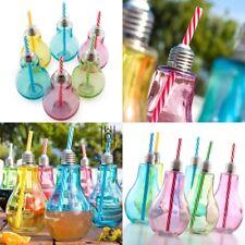 Set 12 Vasos de Vidrio de 400 ml diseño Bombilla de colores con Pajitas