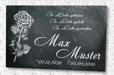 GRABSTEIN Grabmal Grabplatte Urnen Naturschiefer Motiv N- Rose