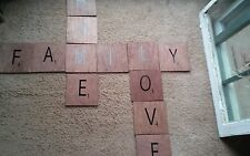 "Large Scrabble Tiles Wall Art Wooden Sign Primitive 'HOME LOVE FAMILY"" handmade"