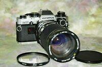 Olympus OM-10 35mm SLR Film Camera w/ 35-200mm  f3.8-5.3 Soligor Zoom  MacroLens