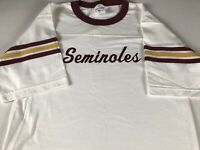 Seminoles T-Shirt VTG Mens Medium Striped Sleeves USA Made Cotton Tee Adult FSU