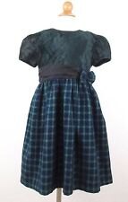 Youngland Short Sleeve Dress Size 6 Girls Green Blue Plaid Special Occasion