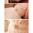 Pearl Belt Waist Chain Rhinestone Square Buckle Waist Elastic Belt for women