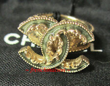 AUTHENTIC CHANEL CC Logo Ring Gold Green Enamel Baroque New SOLD-OUT Rare