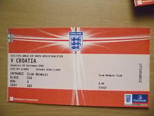 2010 FIFA World Cup Qualifier Tickets Stubs- ENGLAND v CROATIA, 9 Sept