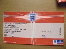 2010 FIFA World Cup Qualifier Tickets Stubs- ENGLAND v CROATIA, 9 Sept
