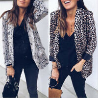 Women Leopard Snakeskin Printed Long Suit Coat Jacket Outwear Casual Blazer Tops