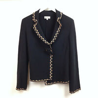 Blumarine Blazer Jacket Cardigan UK Size 12 Black Embroidered Womens