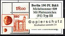 ❷❾  Berlin B&S 539 PZ Typ III Plattenzeichen Ecke 1 Eckrand 1 Bogenecke OL RAR