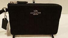 NWT! Coach Small Black Outline Signature Corner Zip Wristlet Bag F54627