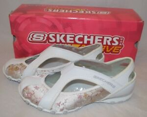 Womens Skechers Active Bikers Slingback Shoes with Floral Print-White