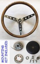 "1967 68 Buick Skylark GS GRANT Wood walnut Steering Wheel 15"" chrome spokes"