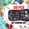 68Pcs Portable Sewing Kit Thread Scissor Tape Pins Thimble Needle Travel Home