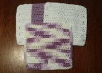 Lot of 4 New Purple/Lavender/Wht Handmade-Crocheted 100% Cotton Dish/Wash Cloths