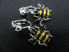 A PAIR OF CUTE HONEY BEE ENAMEL DANGLY CLIP ON EARRINGS. NEW.