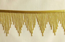 "Beautiful Striking GLASS Gold 3"" glass beaded fringe trim  #456"