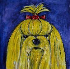Yellow yorkie yorshire terrier artwork dog art tile coaster gift