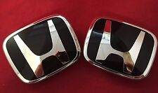 2X Black Honda Badge Emblem Front+ Rear H Logo JDM Civic Accord Prelude CRX NEW
