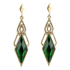 Vintage Style Beautiful Gold & Dark Green Long Drop Stud Evening Earrings E960