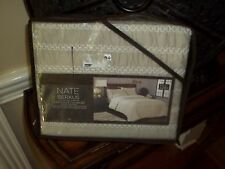 New Nate Berkus Khaki Embroidered Full/Queen Duvet Cover Set 3pc