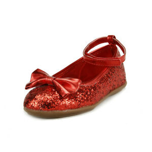 Girl's Sparkly Wedding Party Dress Shoes Ankle Wrap Toddler Little Kids Red Gold