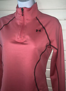 Under Armour Sz SMALL Pink Cold Gear Workout 1/4 Zip Jacket Semi-Fitted EUC