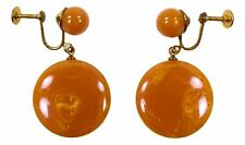 Vintage Bakelite Marbled Earrings Butterscotch Screwback Swirl Tested Round Disc