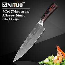 "Santoku Gyuto Chef Knife Steel Laser Pattern Wood Handle 8 Inch Kitchen Blade 8"""