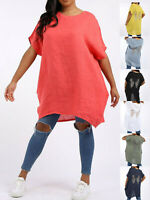 Ladies Womens Italian Oversized Linen Sequin Angel Wings Tunic Top Plus Size