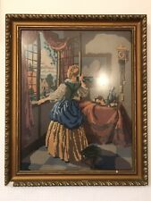 More details for large faux gilt framed hand made wool tapestry of a lady at a window