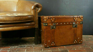 Materials Leather Brass English Tan Leather Handmade Bespoke Coffee Table Trunk