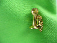 Gold Tone Miniature Antique Candle Stick Phone Chain Handset Mouthpiece Pin